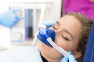 girl undergoing nitrous oxide sedation